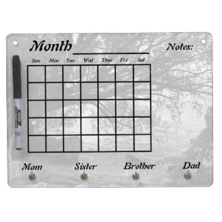 Black and White Tree Silhouette Calendar Dry Erase Board With Keychain Holder