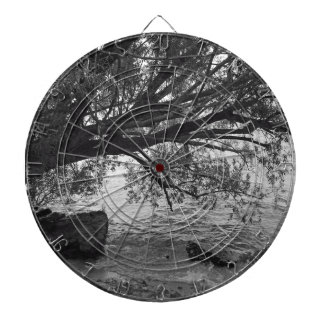 Black and White Tree Silhouette Dartboard