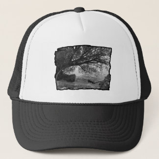 Black and White Tree Silhouette Trucker Hat