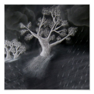 Black and White Tree Sketch Poster