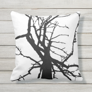 Black and White Tree Top Abstract Outdoor Pillow