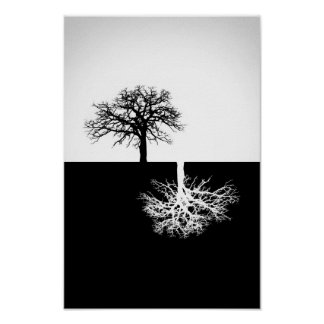 Black and white tree wall decor