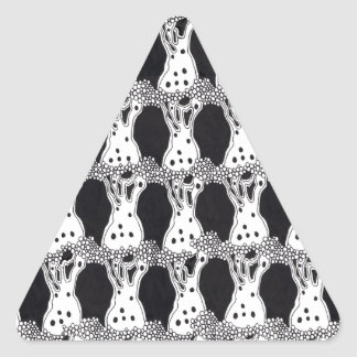 Black and White Trees Pattern Triangle Sticker