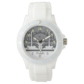 Black and White Trees Personalized Wrist Watches