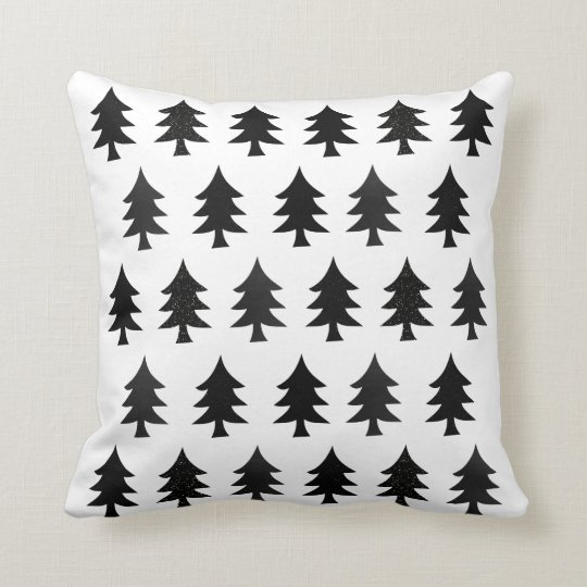 Scandinavian Style Throw Pillows : Black and White Trees Scandinavian Style Christmas Throw Pillow Zazzle