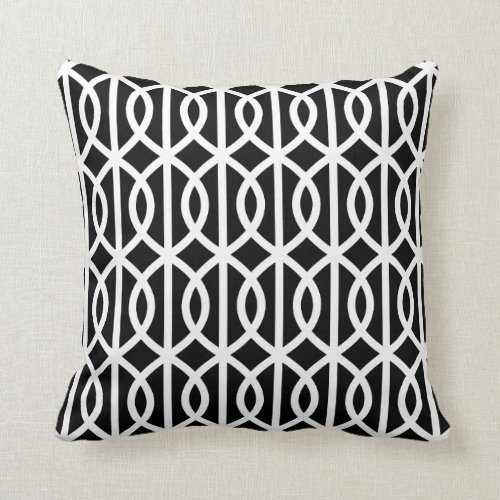 Black and White Trellis Pillow