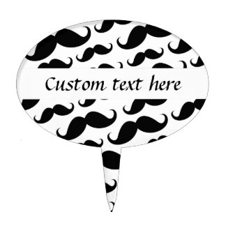 Black and white trendy funny mustache pattern cake topper