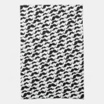 Black and white trendy funny mustache pattern towel