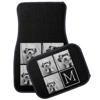 Black and White Trendy Photo Collage with Monogram Car Floor Mat