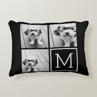 Black and White Trendy Photo Collage with Monogram Decorative Pillow
