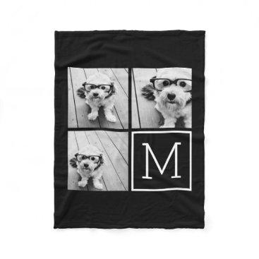 MarshEnterprises Black and White Trendy Photo Collage with Monogram Fleece Blanket