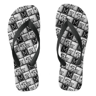 Black and White Trendy Photo Collage with Monogram Flip Flops