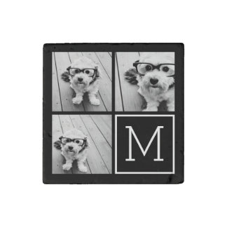 Black and White Trendy Photo Collage with Monogram Stone Magnet