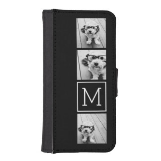 Black and White Trendy Photo Collage with Monogram iPhone SE/5/5s Wallet Case