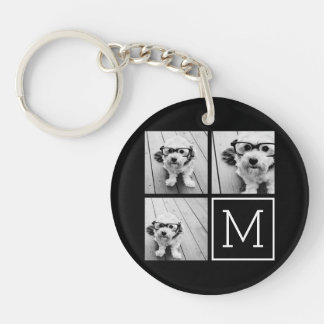 Black and White Trendy Photo Collage with Monogram Double-Sided Round Acrylic Keychain
