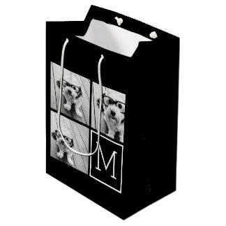 Black and White Trendy Photo Collage with Monogram Medium Gift Bag