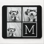 "Black and White Trendy Photo Collage with Monogram Mouse Pad<br><div class=""desc"">Use 3 square photos to create a unique and personal gift. Or you can keep the hipster puppy and make a trendy keepsake. If you need to adjust the pictures,  click on the customize tool to make changes.</div>"