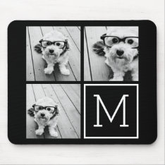 Black and White Trendy Photo Collage with Monogram Mouse Pad at Zazzle