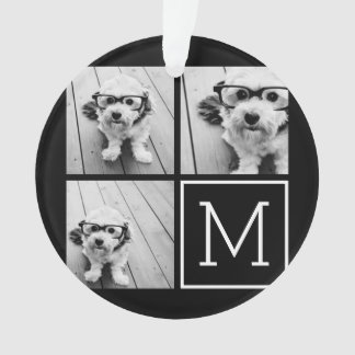 Black and White Trendy Photo Collage with Monogram Ornament