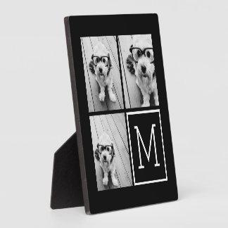 Black and White Trendy Photo Collage with Monogram Plaque