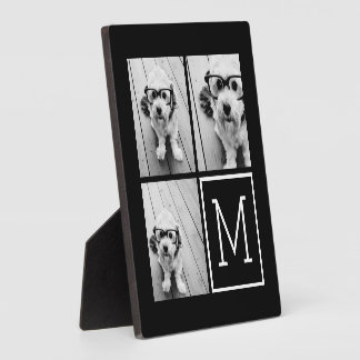 Black and White Trendy Photo Collage with Monogram Plaques