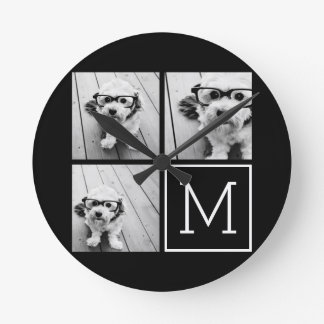 Black and White Trendy Photo Collage with Monogram Round Clock