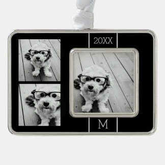 Black and White Trendy Photo Collage with Monogram Silver Plated Framed Ornament