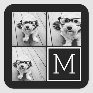 Black and White Trendy Photo Collage with Monogram Square Stickers