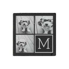 Black And White Trendy Photo Collage With Monogram Stone Magnet at Zazzle