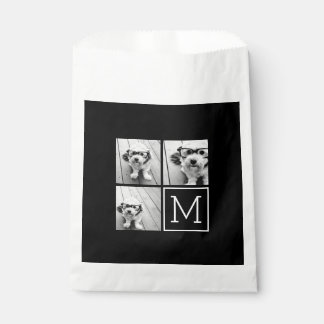 Black and White Trendy Photo Collage with Monogram Favor Bags