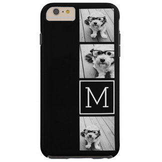 Black and White Trendy Photo Collage with Monogram Tough iPhone 6 Plus Case