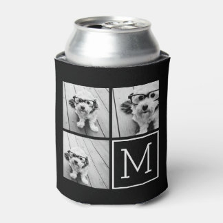 Black and White Trendy Photo Collage with Monogram Can Cooler