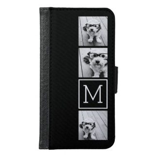 Black and White Trendy Photo Collage with Monogram Wallet Phone Case For Samsung Galaxy S6