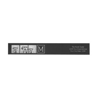 Black and White Trendy Photo Collage with Monogram Wraparound Return Address Label
