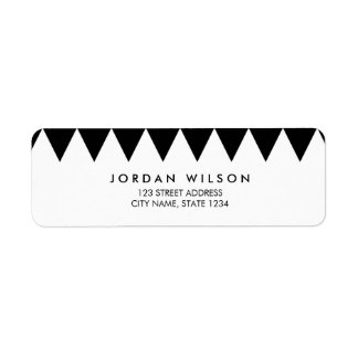 Black and White Triangle Pattern Modern Address Label