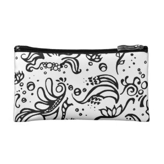 Black and white tribal abstract swirls makeup bag