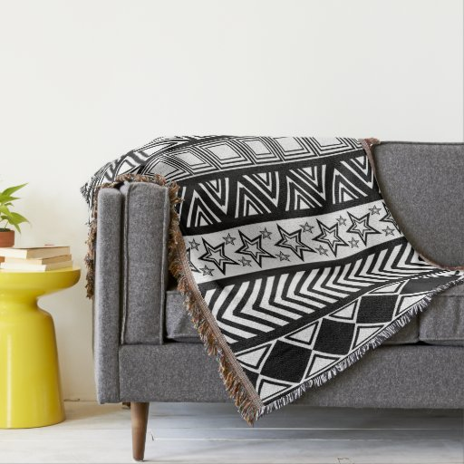 black and white tribal art pattern throw blanket zazzle. Black Bedroom Furniture Sets. Home Design Ideas