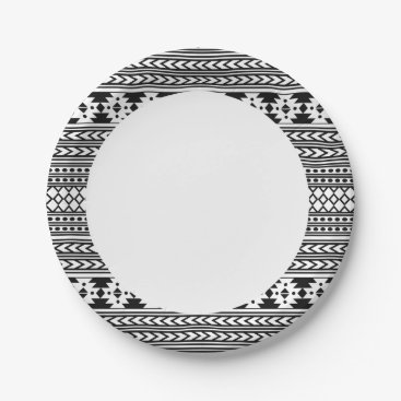 Aztec Themed Black And White Tribal Aztec Paper Plate