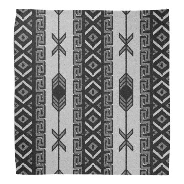 Aztec Themed Black And White Tribal Aztec Pattern Bandanna