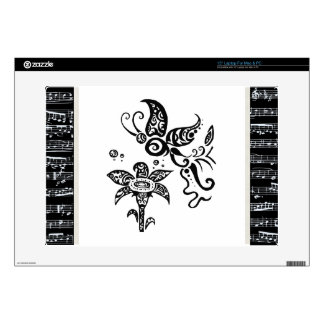 "Black and white tribal butterfly 15"" laptop decals"