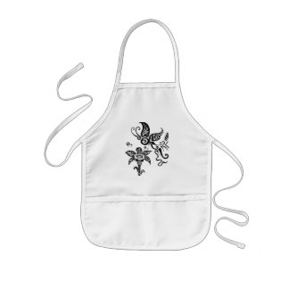 Black and white tribal butterfly kids' apron