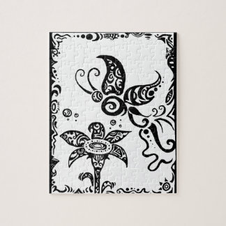 Black and white tribal butterfly jigsaw puzzle