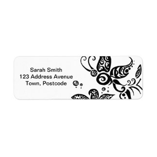Black and white tribal butterfly return address label
