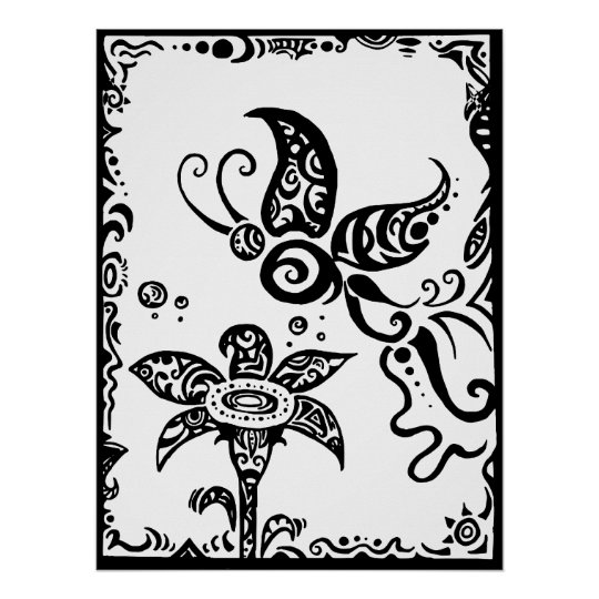 Black and white tribal butterfly poster