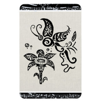 Black and white tribal butterfly rectangle magnets