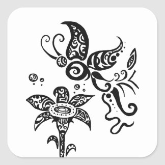 Black and white tribal butterfly square sticker