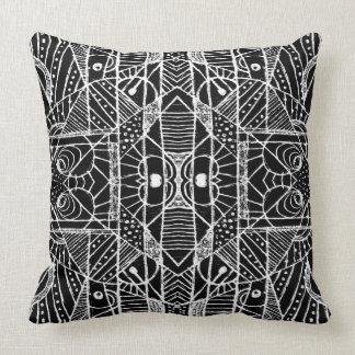 Black and White Tribal Geometric Pattern Print Pillow