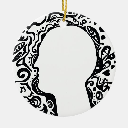 Black and white Tribal head Ceramic Ornament