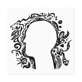 Black and white Tribal head - Imagination Canvas Print