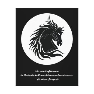 Black and white tribal horse head canvas print